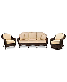 Monterey Outdoor Wicker 3-Pc. Seating Set with Sunbrella® Cushions  (1 Sofa, 1 Club Chair, 1 Swivel Glider), Created for Macy's