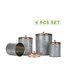 4 Piece Double Wall Galvanized Canister Set With Lid
