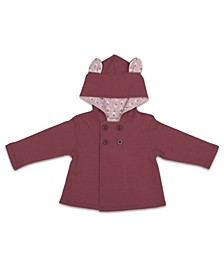 Baby Girl Jacket, Solid W/ Bunny Ears