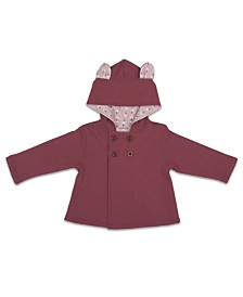 The Peanutshell Baby Girl Jacket, Solid W/ Bunny Ears