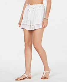 Drawstring-Waist Crochet Cover-up Skirt
