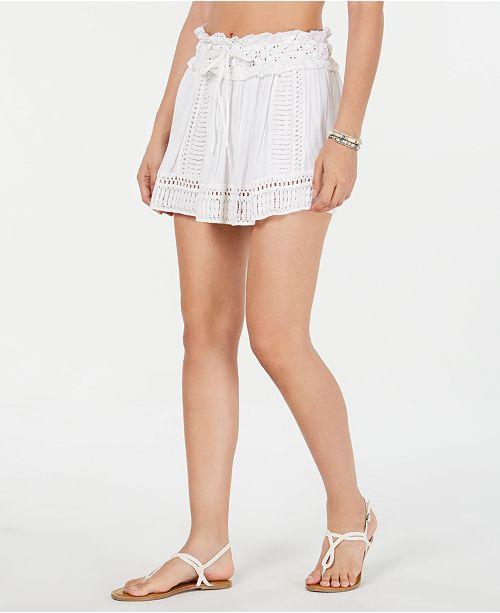 Raviya Drawstring-Waist Crochet Cover-up Skirt