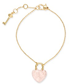 Gold-Tone Stone Lock & Key Link Bracelet