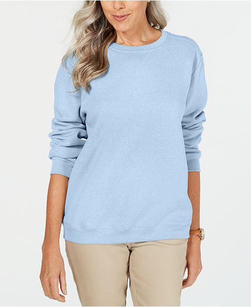 Karen Scott Petite Crewneck Fleece Sweatshirt, Created for Macy's