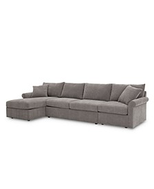 Wedport 3-Pc. Fabric Sectional Sofa with Armless Full Sleeper and Chaise, Created for Macy's
