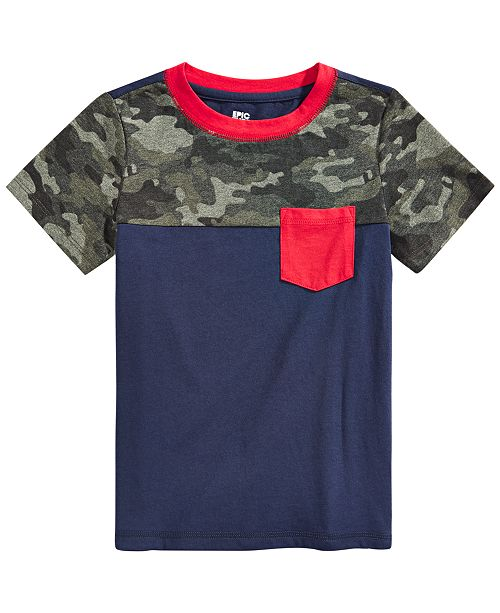 Epic Threads Little Boys Camo Colorblocked Pocket T-Shirt, Created for Macy's