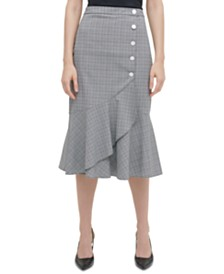 Calvin Klein Plaid Flared Midi Skirt