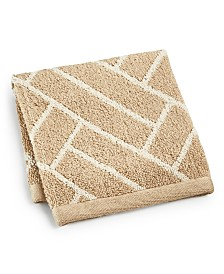 """Hotel Collection Block Geo Cotton 13"""" x 13"""" Wash Towel, Created for Macy's"""