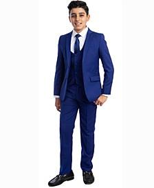 Little Boy's 5-Piece Shirt, Tie, Jacket, Vest and Pants Solid Suit Set