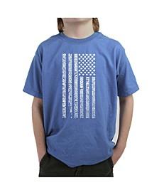 Big Boy's Word Art T-Shirt - National Anthem Flag