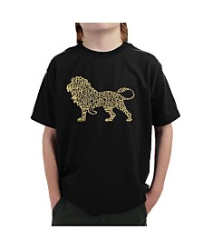 LA Pop Art Big Boy's Word Art T-Shirt - Lion