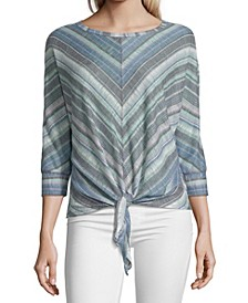 Striped Asymmetric Hem Top