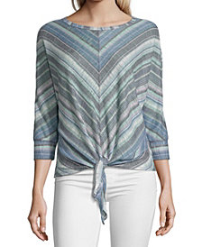 John Paul Richard Striped Asymmetric Hem Top