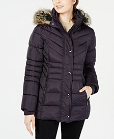 Hooded Faux-Fur-Trim Puffer Coat