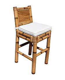 Panama Jack Kauai Bamboo Barstool with Cushion