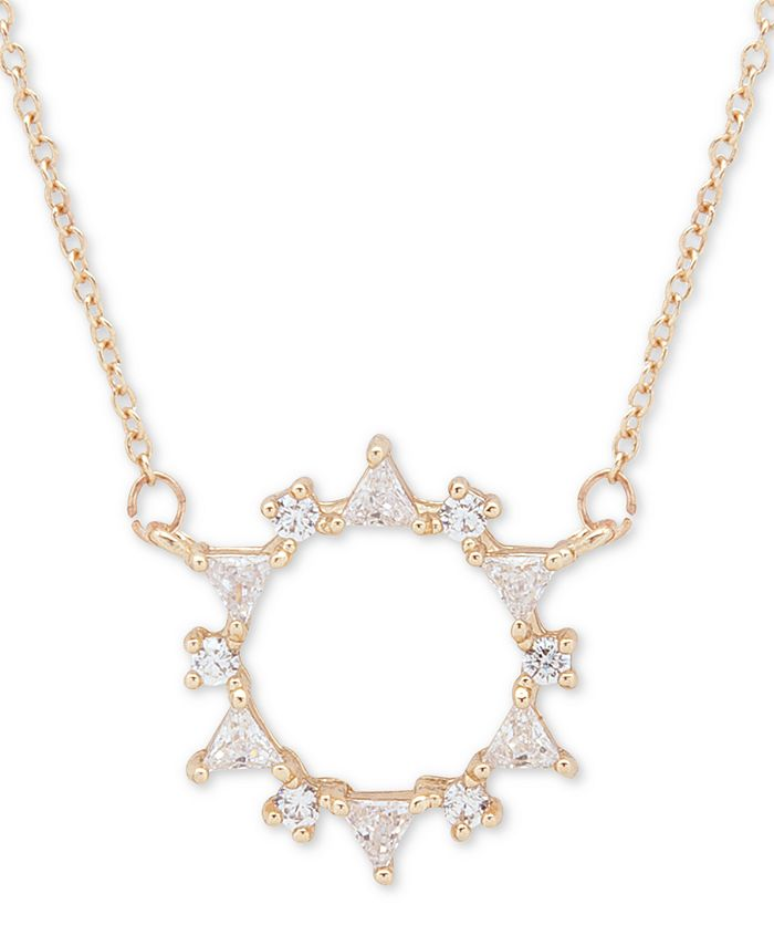 """lonna & lilly - Gold-Tone Crystal Wreath Pendant Necklace, 16"""" + 3"""" extender"""