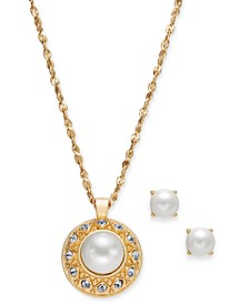 "Gold-Tone Pavé and Imitation Pearl Pendant Necklace & Stud Earrings Set, 17"" + 2"" extender, Created for Macy's"
