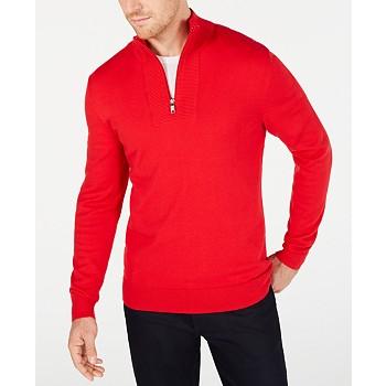 Alfani Men's Quarter-Zip Ribbed Placket Sweater