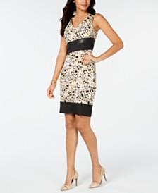 Thalia Sodi Mixed-Media Sleeveless Scuba Dress, Created for Macy's