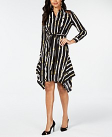 Printed Handerkerchief-Hem Shirtdress, Created for Macy's