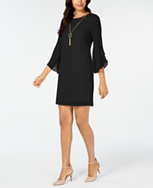 Thalia Sodi Flared-Sleeve Necklace Dress, Created for Macy's