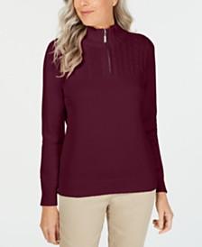 Karen Scott Cotton Zip-Neck Sweater, Created for Macy's