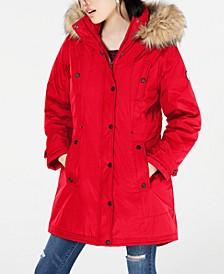 Juniors' Hooded Faux-Fur-Trim Parka