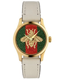 Gucci Women's Swiss G-Timeless White Leather Strap Watch 27mm
