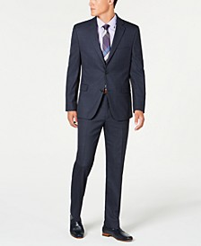 Men's Slim-Fit Performance Stretch Navy Windowpane Suit Separates, Created for Macy's