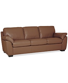 """Lothan 87"""" Leather Sofa with 3 Cushions, Created for Macy's"""
