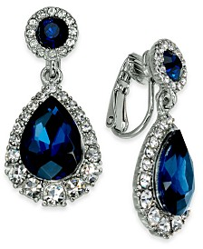 Charter Club Silver-Tone Crystal & Stone Clip-On Drop Earrings, Created for Macy's