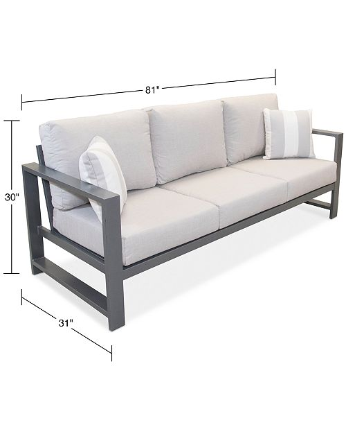 Aruba Grey Aluminum Outdoor Sofa with Sunbrella® Cushion, Created for Macy\'s