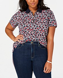 Plus Size Printed Zip Polo Shirt