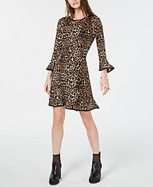 Leopard Print Bell-Sleeve Dress, Regular & Petite Sizes