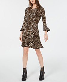Michael Michael Kors Leopard Print Bell-Sleeve Dress