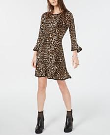 Michael Michael Kors Leopard Print Bell-Sleeve Dress