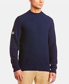 Men's Mock Neck Sweater with Logo Patch