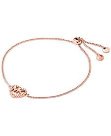 Sterling Silver Cubic Zirconia Heart Logo Slider Bracelet