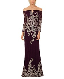 Lace-Embroidered Gown