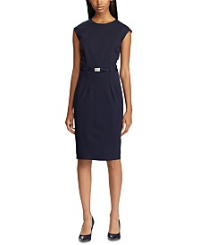 Lauren Ralph Lauren Belted Ponte-Knit Dress