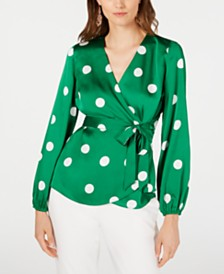 I.N.C. Dotted Wrap Blouse, Created for Macy's