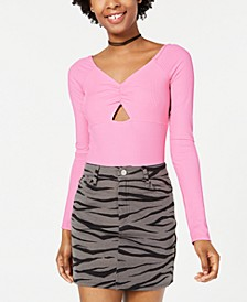 Juniors' Cutout Rib-Knit Bodysuit, Created for Macy's