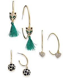 Thalia Sodi Gold-Tone 3-Pc. Set Pavé & Tassel Hoop Earrings, Created for Macy's