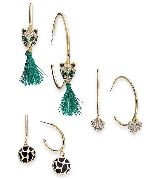 Thalia Sodi Gold-Tone 3-Pc. Set Pavé & Tassel Hoop Earrings, Created for Macy's