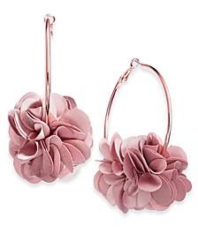 INC Fabric Flower Hoop Earrings, Created for Macy's