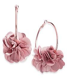 I.N.C. Rose-Gold Tone or Gold-Tone Fabric Flower Hoop Earrings, Created for Macy's