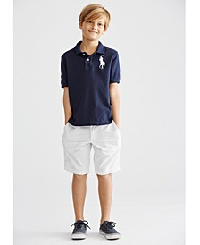 Little Boys Mesh Polo & Chino Shorts