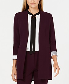 Roll-Sleeve Open-Front Blazer