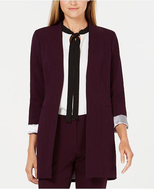 Calvin Klein Roll-Sleeve Open-Front Blazer