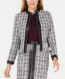 Tweed Zip-Up Jacket With Faux-Leather Trim